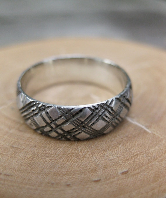 mens PLAID ring sterling silver Made to Order size