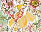 The Makers fabric line by Cori Dantini, watercolor - illustration- Scissor Dancer -  limited edition - 8 x 10 print by cori dantini