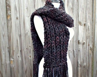 Knit Scarf - Fisherman's Rib Oversized Scarf in Blackstone Black Charcoal Grey Marsala Wine Scarf - Black Scarf Womens Accessories