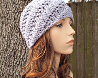 Grey Beanie Mens Hat Womens Hat - Swirl Beanie Pewter Light Grey Knit Hat - Grey Hat Womens Accessories Winter Hat