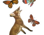 Original Collage Cute Animal Art Whimsical Fox Art on Paper Butterfly Artwork Happy Art