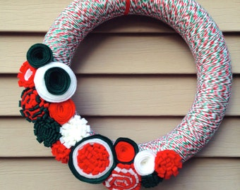 Christmas Wreath Wrapped in Multi Colored Yarn Decorated w/ Felt Flowers. Holiday Wreath - Christmas Wreath- Yarn Wreath -Felt Flower Wreath