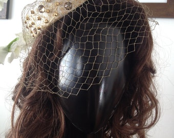 Gold Studded and Bejeweled Veil Hat