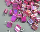 Mother of Pearl Pendant Charms, Hot Pink MOP Tumbled Drops, Pick Your Amount, C83