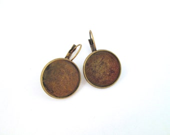 18mm brass bezel leverback earring hooks, pick your amount, C140