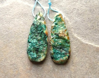 Chrysocolla Druzy Matched Earring Pair - 15x45mm