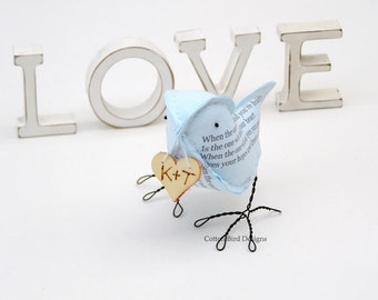 2yr Anniversary Cotton Bird Poem - THE ONE -  Personalized Second Wedding Anniversary with your initials - Made To Order