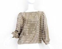 80s Vintage Puff Sleeve Satin Women's Blouse - Size Medium - Taupe Satin Striped Valley Girl Shirt