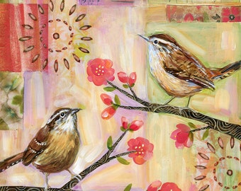 Two Wrens 8x8 inch print on panel