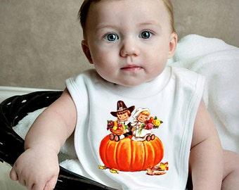 Thanksgiving Baby Bib - Retro Thanksgiving Bib - Cotton Knit Bib Infant Baby First Thanksgiving Shower GIft Infant or Toddler Great Gift
