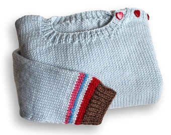 Toddler Sweater. Handknit Crew Neck Long Sleeve Pullover Sweater. Unisex 18 Months. Knitted Slipover Jersey. Buttoned Shoulder Wool Jumper