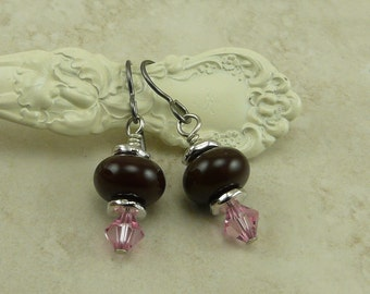 Luscious Black Forest Glass Lampwork & Swarovski Bead Earrings > Valentines Day Bridal Pink Crystal - Hypoallergenic Niobium Ear Wires E3-30