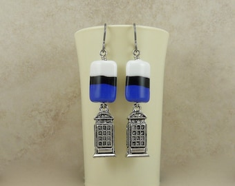 Doctor Who Tardis Inspired Earrings > Phone Police Box Booth Blue Black Dr Who Whovian - SRA Lampwork beads Hypoallergenic Niobium Ear Wires