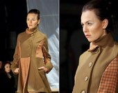 Victairy Long Coat SMALL-MEDIUM camel saffron tartan, plaid, pleats, asymmetrical collar & hemline, handmade, up-cycled, vintage OOAK