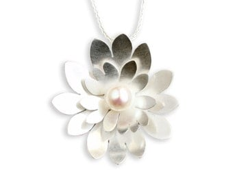 Sterling Silver Necklace - Silver Flower Necklace