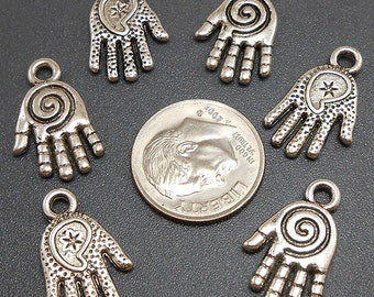 8 Palm Hand Charms silver tone metal (S414)