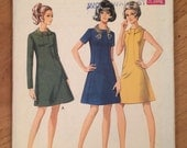 1960's Dress Pattern with collar detail -  Vintage Style 2504 Pattern - Bust 40