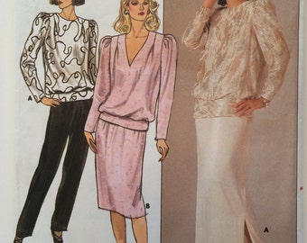 Vintage Butterick Pattern 3585 Formal Top, Pants and Skirt 1980's  plus size 18
