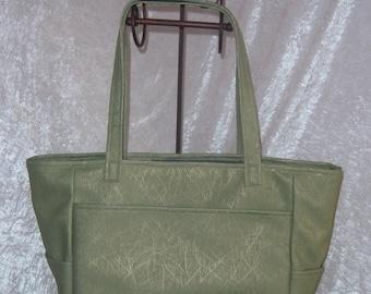 Sage Green Vinyl Tote Bag - Large SALE