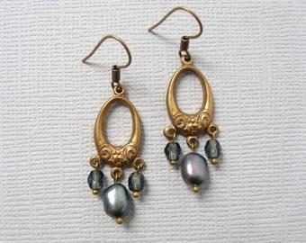 Marie Antoinette earrings - vintage gold finished metal connectors, iris gray pearl, smoke grey blue glass bead earrings