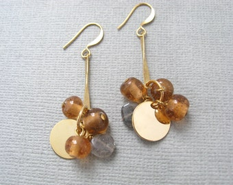 Long Goodbyes earrings - gold plated metal hooks with natural hand cut labradorite beads, peach glass beads and shiny gold disk charms