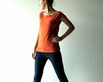 Cotton tshirt, Tank top, Yoga Clothes, orange top, Womens top, Womens clothing, Yoga top, Jersey top, Blouse, Sleeveless top, Tunic top