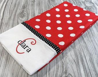 Red and White Polka Dot Pillowcase, Personalized Pillowcase, Monogrammed Pillowcase, Personalized Bedding