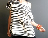 Womens Handmade Stripes Top - iheartfink Hand Printed Black White Striped Wearable Art Print Modern Jersey Top