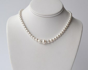 Luxurious White Pearl Necklace - Pearl Strand - Classic Pearl Necklace - Bridal Necklace - Bridal Accessory - Pearl Strand