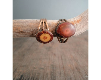 Copper and Wood Ring - Adjustable Size