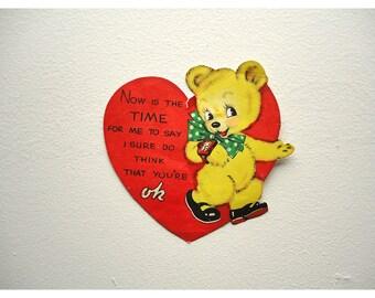1943 Valentine Card - Teddy Bear and Heart