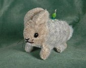 Gray and Tan Wool Bunny Pincushion with Leafy Fabric Insert