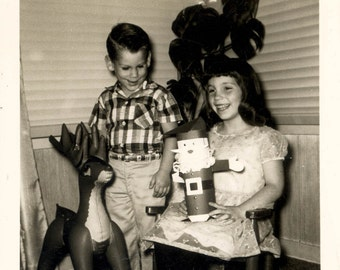 vintage photo Children with Santa Claus and Reindeer Decor 1950s