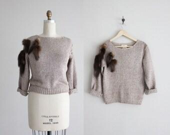 silk sweater / fur appliqué sweater / taupe sweater