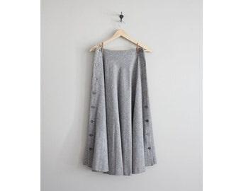 wool and silk skirt / calf skirt / long full skirt