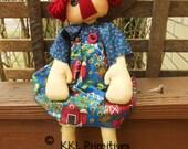 Primitive Raggedy Barnyard Annie Doll
