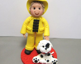 Fireman and Dalmation Birthday Cake Topper decoration figurine polymer clay Custom Made To Order