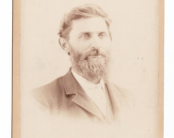 Antique Cabinet Photo of Bearded Man with Kind Eyes