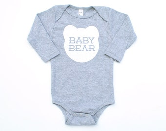 Baby Bear Cotton Long Sleeve One Piece Romper in Heather Grey with White Print - Baby Shower Gift