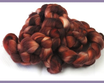 100% Merino Top Roving for Hand Spinners, Hand Dyed, Merlot