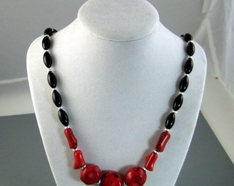 Native American Black Onyx and Red Bamboo Coral Necklace, Tribal Necklace, Gemstone Necklace, Bohemian Necklace, Womans Native Fashions