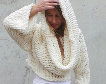 oversized sweater / ivory / chunky / Hooded, hoodie / white, chunky slouchy,