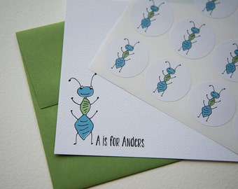 A is for Ant Personalized Stationery or Thank You Cards Set with Stickers