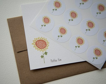 Sunflower Personalized Stationery or Thank You Notes and Sticker Set
