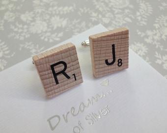 Personalised Wooden Scrabble Tile Cufflinks