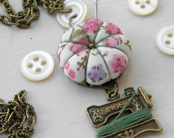 Sewing Necklace with a Tiny Pincushion and Thread Winder, Spring Floral