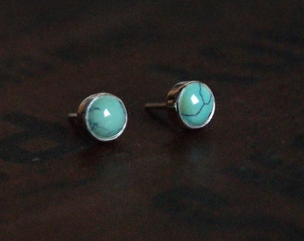 Desert Oasis, Turquoise and Silver stud earrings