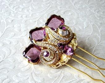 Abstract Thistle Hair Comb Purple Wedding Hairpiece Gold Bridal Headpiece Vintage Amethyst Rhinestone Jewelry Bohemian Chic Art Deco Bride