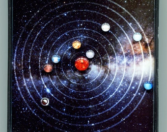 "Mini Solar System Art, Customized Planetary Orbits by Date, 4"" x 4"""