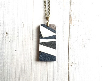 Vinyl record & Leather Necklace, white blue grey